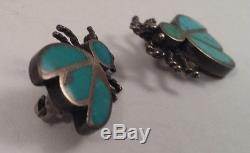 Vintage Native Indian Sterling Silver Inlay Turquoise Bug Pin Brooch Pair