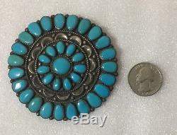 Vintage Native Zuni Signed Jw Sterling Silver & Turquoise Brooch Large