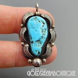 Vintage Navajo 925 Silver Sleeping Beauty Turquoise Feathers Shadowbox Pendant