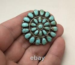 Vintage Navajo. 925 Sterling Silver & Turquoise Cluster Native Pin Pendant LMB
