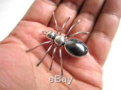 Vintage Navajo Art Simon Yazzie Large Sterling Silver Spider Pendant Pin