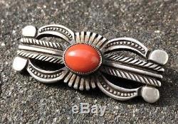 Vintage Navajo Calvin Martinez Mediterranean Coral Sterling Silver Pin Brooch