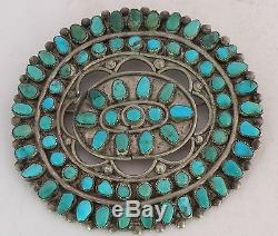 Vintage Navajo HUGE pin brooch sterling silver Turquoise cluster Abraham Begay