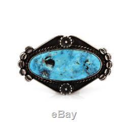 Vintage Navajo Handmade Sterling Gem Turquoise Pin Brooch Signed TK AJB