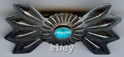 Vintage Navajo Indian Repousse Silver & Turquoise Pin Brooch