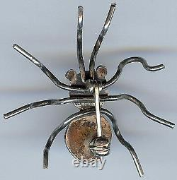 Vintage Navajo Indian Silver & Turquoise 3d Spider Pin Brooch