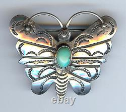 Vintage Navajo Indian Silver Turquoise Butterfly Pin Brooch