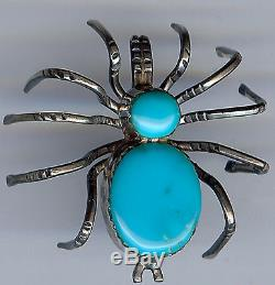 Vintage Navajo Indian Silver & Turquoise Dimensional Spider Bug Pin Brooch