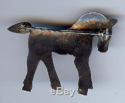 Vintage Navajo Indian Silver Turquoise Eye Horse Or Pony Pin Brooch