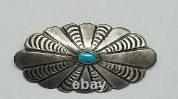 Vintage Navajo Indian Silver & Turquoise Oval Pin Brooch