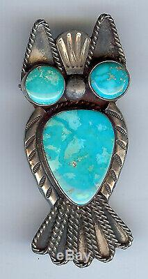 Vintage Navajo Indian Silver Turquoise Owl Pin Brooch