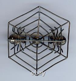 Vintage Navajo Indian Silver & Turquoise Spiders On Web Pin Brooch
