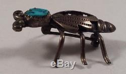 Vintage Navajo Indian Sterling Silver Bee Turquoise Pin Brooch