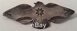 Vintage Navajo Indian Sterling Silver Thunderbird Stampwork Pin Brooch