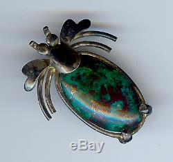 Vintage Navajo Indian Sterling Silver & Turquoise Bug Pin Brooch