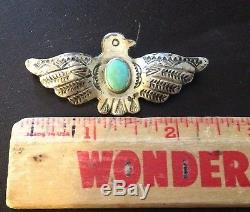 Vintage Navajo Indian Sterling Silver Turquoise Stamped Thunderbird Pin