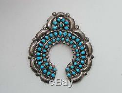 Vintage Navajo Naja Turquoise Sterling Silver Estate Native American 2 Pin 18g