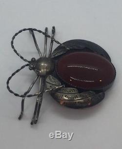 Vintage Navajo Native American Sterling Silver & Agate Large Bug Beetle Pin