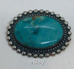 Vintage Navajo Native American Sterling Silver Turquoise Pin Signed JP