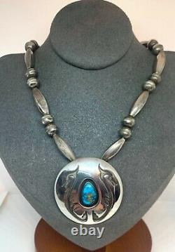 Vintage Navajo Pearl Sterling Silver Turquoise Pendant Pin Beaded Necklace