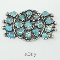 Vintage Navajo Petit Point Natural Turquoise Sterling Silver Pin Brooch 14.9g