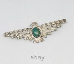 Vintage Navajo Stamp Work Sterling Turquoise Figural Thunderbird Pin Estate