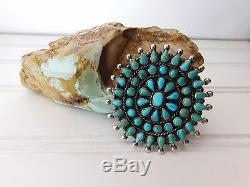 Vintage Navajo Sterling Silver CLUSTER Petit Point TURQUOISE Brooch Pin