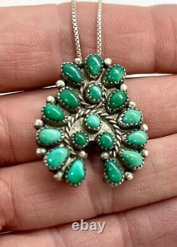 Vintage Navajo Sterling Silver Green Turquoise Cluster Naja Pendant Pin Necklace