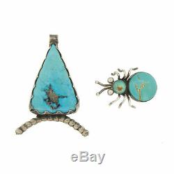 Vintage Navajo Sterling Silver Lot Turquoise Spider Pendant Brooch Pin