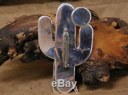 Vintage Navajo Sterling Silver Saguaro and Coyote Pin