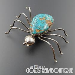 Vintage Navajo Sterling Silver Spiderweb Turquoise Spider Brooch Pin