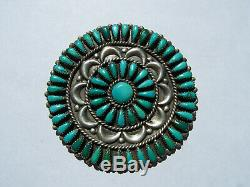 Vintage Navajo Sterling Silver Turquoise Brooch/ Pin. 56 stones. Dead Pawn