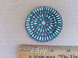 Vintage Navajo Sterling Silver Turquoise Cluster pin. 2 3/8 across. Dead Pawn