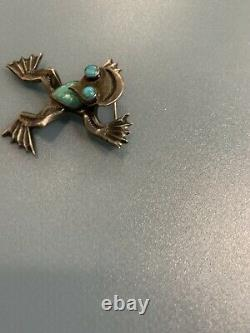 Vintage Navajo Sterling Silver and Genuine Turquoise Old Pawn-Frog Brooch