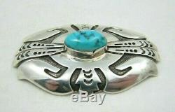 Vintage Navajo Thomas Tommy Singer Signed Turquoise Sterling Silver Brooch Pin
