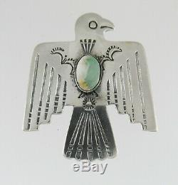 Vintage Navajo Thunderbird Brooch Pin Sterling Silver Royston Turquoise Unsigned