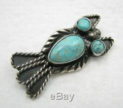 Vintage Navajo Turquoise Owl Sterling Silver Brooch Pin