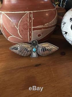 Vintage Navajo Turquoise Thunderbird Brooch Pin Sterling