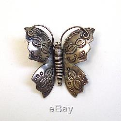 Vintage Navajo silver hand stamped butterfly pin/brooch