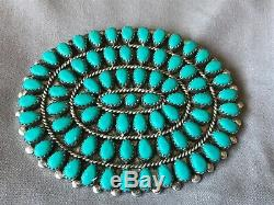 Vintage OLD Pawn NAVAJO CLUSTER Turquoise STERLING SILVER Large PIN BROOCH