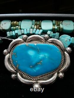 Vintage OLD Pawn Navajo Concho Sterling Silver Turquoise Pin Stunning 1950-60s