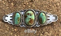 Vintage Old Navajo Fred Harvey Era Royston Turquoise Hand Stamped Pin Brooch