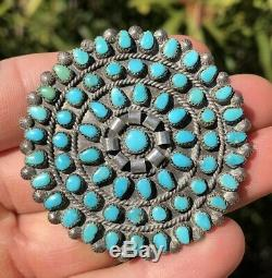 Vintage Old Pawn HUGE 2 1/8 Zuni Petit Point Turquoise Pin Brooch