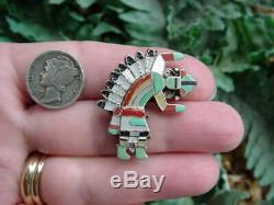 Vintage Pablita Quam ZUNI RAINBOW MAN pendant pin brooch mulit stone silver