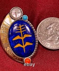 Vintage Rmt Rodrick Tenorio Santo Domingo Artist Sterling Heavy 14k Pin Pendant