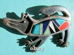 Vintage Rock Kritters Sterling Silver Semi-Precious Inlaid Dog Brooch / Pin