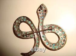 Vintage SET 2LOVE SPIDERS &SNAKESSterling Silver SPIDER & SNAKE Turquoise Pins