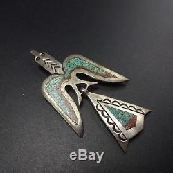 Vintage SINGER Sterling Silver CORAL TURQUOISE Chip Inlay PIN/BROOCH Water Bird