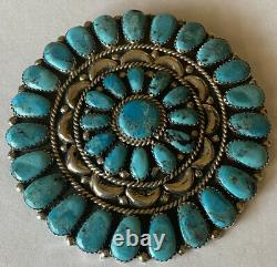 Vintage Signed 1970s Zuni Sterling Silver Turquoise Cluster Pin/Pendant
