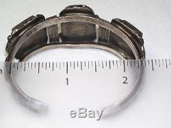 Vintage Signed Navajo Spider Web Turquoise Sterling Bracelet, Ring, Pin 64g